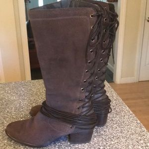 Spring Step Altair brown suede lace back boot